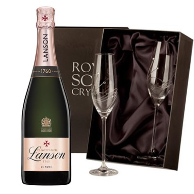 Lanson Rose Label Champagne 75cl with 2 Royal Scot Edinburgh Flutes
