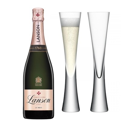 Lanson Rose Label Champagne 75cl with LSA Flutes