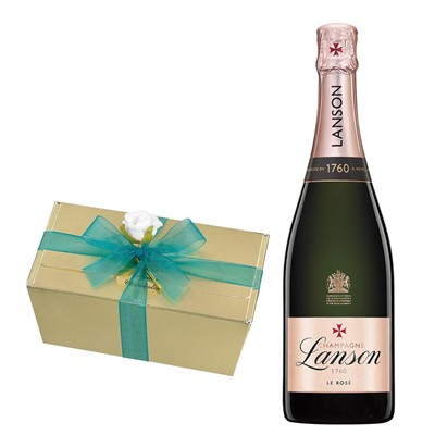 Lanson Rose Label Champagne 75cl With Selection Of Milk, White And Dark Belgian Chocolates 460g