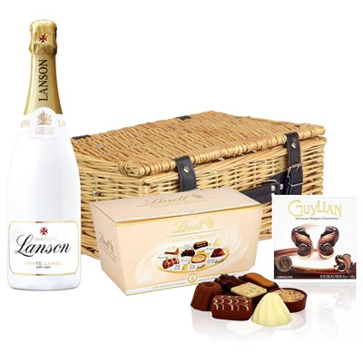 Lanson White Label NV Champagne 75cl And Chocolates Hamper