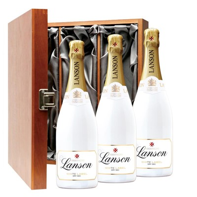 Lanson White Label NV Champagne 75cl Three Bottle Luxury Gift Box