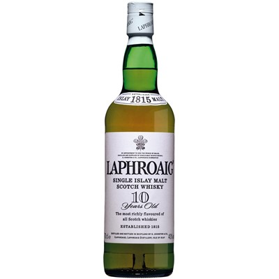 Buy a bottle of Laphroaig 10 year old malt. This single malt from Islay has a pungent earthy aroma of blue peat smoke and the sweet nuttiness of the barley blended together to create a unique flavour. Price includes free UK Mainland Delivery, and Exports and international delivery available.