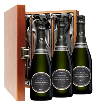 Laurent  Perrier Brut 2008 Vintage Champagne Three Bottle Luxury Gift Box