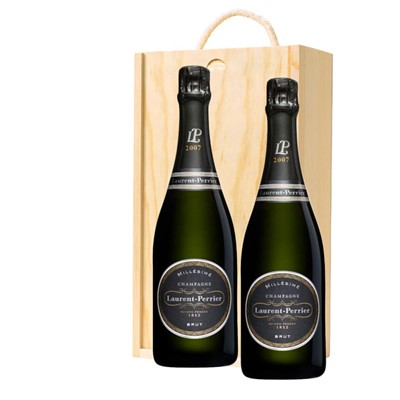 Laurent  Perrier Brut 2008 Vintage Champagne Twin Pine Wooden Gift Box (2x75cl)