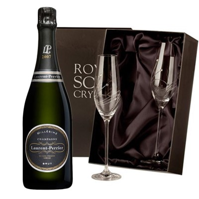 Laurent  Perrier Brut 2008 Vintage Champagne with 2 Royal Scot Edinburgh Flutes