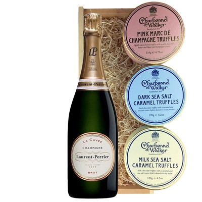 Laurent  Perrier La Cuvee Brut Champagne 75cl And Charbonnel Trio of Truffles Gift Box