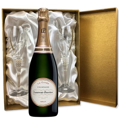 Laurent  Perrier La Cuvee Brut Champagne 75cl in Gold Presentation Set With Flutes