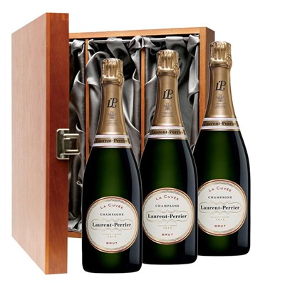 Laurent  Perrier La Cuvee Brut Champagne 75cl Three Bottle Luxury Gift Box