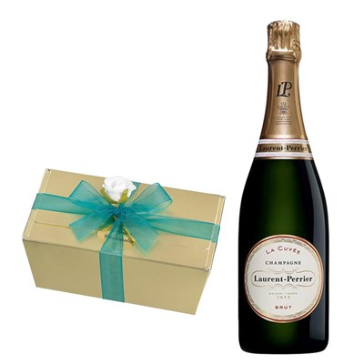 Laurent  Perrier La Cuvee Brut Champagne 75cl With Selection Of Milk, White And Dark Belgian Chocolates 460g