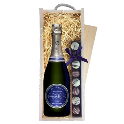 Laurent  Perrier Ultra Brut Champagne 75cl & Champagne Truffles, Wooden Box