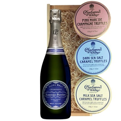 Laurent  Perrier Ultra Brut Champagne 75cl And Charbonnel Trio of Truffles Gift Box