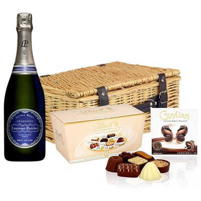 Laurent  Perrier Ultra Brut Champagne 75cl And Chocolates Hamper