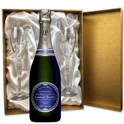 Laurent  Perrier Ultra Brut Champagne 75cl in Gold Presentation Set With Flutes
