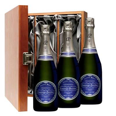 Laurent  Perrier Ultra Brut Champagne 75cl Three Bottle Luxury Gift Box