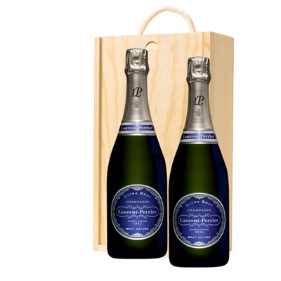 Laurent  Perrier Ultra Brut Champagne 75cl Twin Pine Wooden Gift Box (2x75cl)