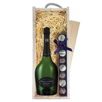 Laurent Perrier Grand Siecle Champagne 75cl & Champagne Truffles, Wooden Box
