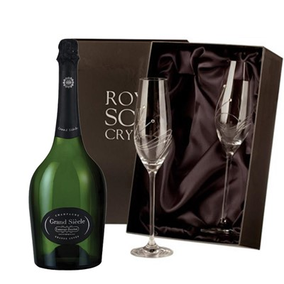 Laurent Perrier Grand Siecle Champagne 75cl with 2 Royal Scot Edinburgh Flutes