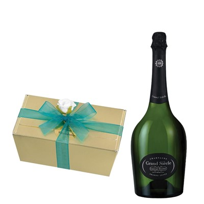 Laurent Perrier Grand Siecle Champagne 75cl With Selection Of Milk, White And Dark Belgian Chocolates 460g