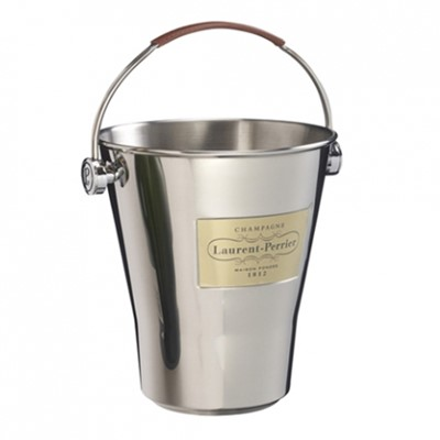 Laurent Perrier Ice Bucket, Laurent Perrier stainless steel ice bucket with Laurent Perrier embossed leather handle. Price includes free UK Mainland Delivery, and Exports and international delivery available.