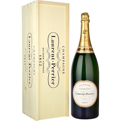 This Laurent Perrier La Cuvee Champagne Jeroboam 3 litre is a pale golden hue, with fine and persistent bubbles. The nose is fresh and delicate, showing good complexity with its hints of citrus and white fruit. With its elegant style, Brut Laurent Perrier has led the way in making champagne the ideal apritif. Perfectly balanced, with crisp flavours and finesse, it is also an ideal companion for fish, poultry and white meat. And this Jeroboam ensures that there is plently to go around!. Price includes free UK Mainland Delivery, and Exports and international delivery available.