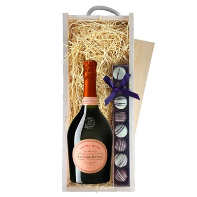 Laurent Perrier Rose Chamapgne 75cl & Champagne Truffles, Wooden Box