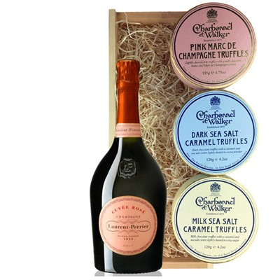 Laurent Perrier Rose Chamapgne 75cl And Charbonnel Trio of Truffles Gift Box