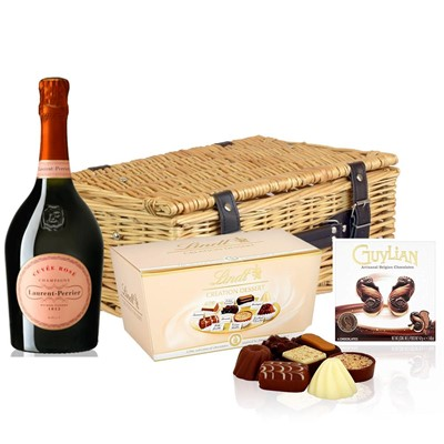 Laurent Perrier Rose Chamapgne 75cl And Chocolates Hamper