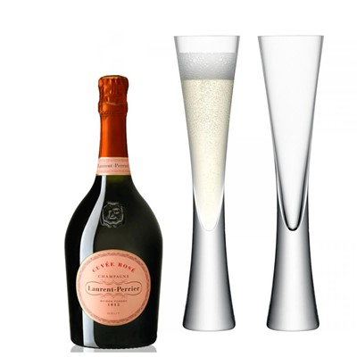 Laurent Perrier Rose Chamapgne 75cl with LSA Flutes