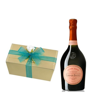 Laurent Perrier Rose Chamapgne 75cl With Selection Of Milk, White And Dark Belgian Chocolates 460g