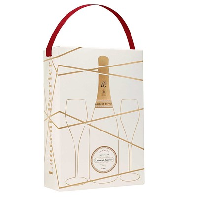 Two Branded Flutes and Laurent Perrier Brut Champagne Gift box Laurent Perrier Brut Champagne in a special edition Gift box with 2 Laurent Perrier branded Champagne flutes. Price includes free UK Mainland Delivery, and Exports and international delivery available.