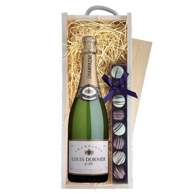 Louis Dornier and Fils Champagne 75cl & Champagne Truffles, Wooden Box