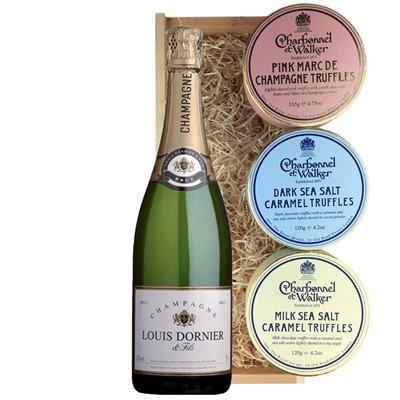 Louis Dornier and Fils Champagne 75cl And Charbonnel Trio of Truffles Gift Box