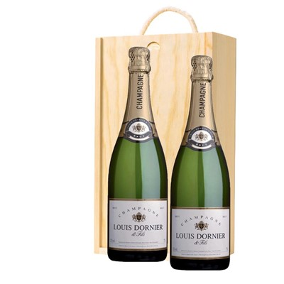 Louis Dornier and Fils Champagne 75cl Twin Pine Wooden Gift Box (2x75cl)