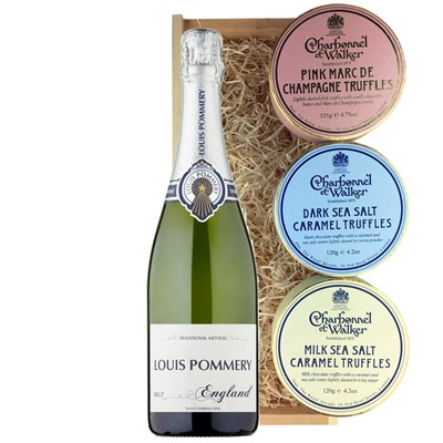 Louis Pommery 75cl Brut England And Charbonnel Trio of Truffles Gift Box