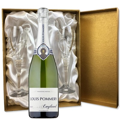 Louis Pommery 75cl Brut England in Gold Presentation Set With Flutes