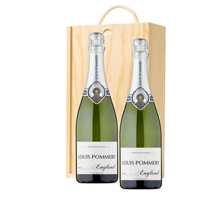 Louis Pommery 75cl Brut England Twin Pine Wooden Gift Box (2x75cl)