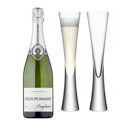 Louis Pommery 75cl Brut England with LSA Flutes
