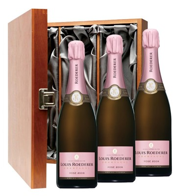 Louis Roederer 2012 Brut Rose Vintage Champagne 75cl Three Bottle Luxury Gift Box