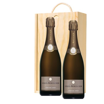 Louis Roederer 2012 Brut Vintage Champagne 75cl Twin Pine Wooden Gift Box (2x75cl)