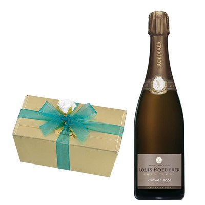 Louis Roederer 2012 Brut Vintage Champagne 75cl With Selection Of Milk, White And Dark Belgian Chocolates 460g