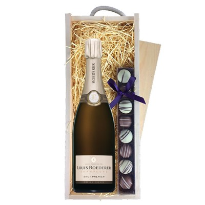 Louis Roederer Brut Premier Champagne 75cl & Champagne Truffles, Wooden Box