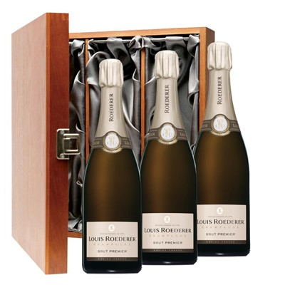 Louis Roederer Brut Premier Champagne 75cl Three Bottle Luxury Gift Box