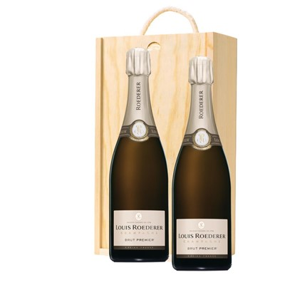 Louis Roederer Brut Premier Champagne 75cl Twin Pine Wooden Gift Box (2x75cl)