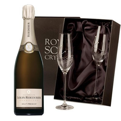 Louis Roederer Brut Premier Champagne 75cl with 2 Royal Scot Edinburgh Flutes