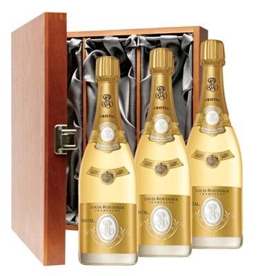 Louis Roederer Cristal Brut Vintage 2012 Champagne 75cl Three Bottle Luxury Gift Box