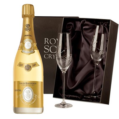 Louis Roederer Cristal Brut Vintage 2012 Champagne 75cl with 2 Royal Scot Edinburgh Flutes
