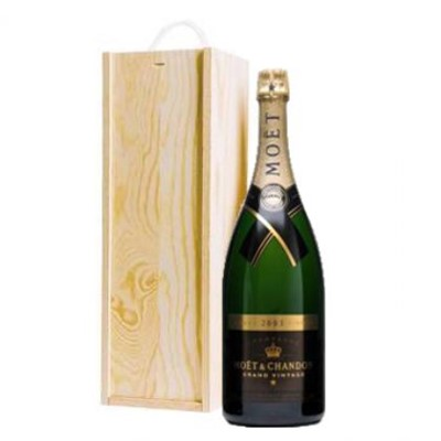 Buy a Magnum of Moet And Chandon Vintage 2008 Champagne 1.5 litres . Presented in a wooden gift box with sliding lid the box is lined with wood wool. Two bottles in one! Twice the celebration And Much More fun! . Price includes free UK Mainland Delivery, and Exports and international delivery available.