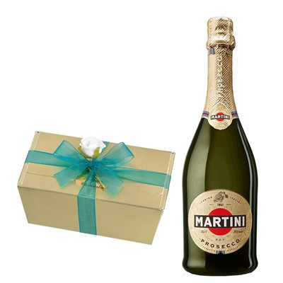 Martini DOC Prosecco 75cl With Selection Of Milk, White And Dark Belgian Chocolates 460g