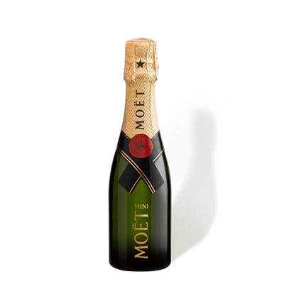 Buy a bottle of Mini Moet and Chandon Brut Chamapgne 20cl online now. Moet and Chandon Brut has for many years been the worlds best selling non vintage Champagne and is consistently soft fresh and very well balanced. A harmonious blend of all three grape varietals and reserve wines Brut Imperial is a subtle drier styled but in a mini Champagne bottle. Price includes free UK Mainland Delivery, and Exports and international delivery available.
