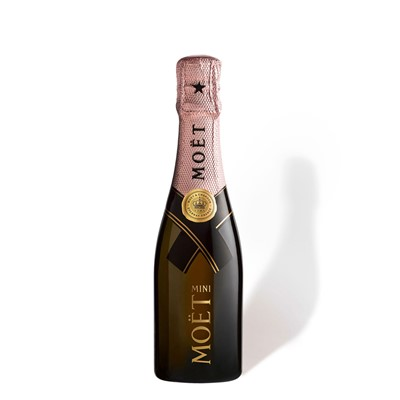 Buy Mini Moet & Chandon Rose Champange , Brut Rose is a seductive wine the assemblage which is formed around Pinot Noir is both spontaneous and balanced emphasising fruity liveliness. It is zestful with great suppleness. The assemblage with red wine also gives it feminine coppery shades.Traditional but exciting style of dry rose designed for dinner. Has a copper color toasty aromas firm texture and subtle fruit and spice flavors that linger on the finish. Non gift boxed . Price includes free UK Mainland Delivery, and Exports and international delivery available.
